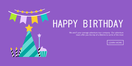 greeting: Vector Illustration of a Happy Birthday Greeting Card