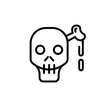 lethal: Skull and cross bones line icon for web, mobile and infographics. black lined icon isolated on white background. Illustration