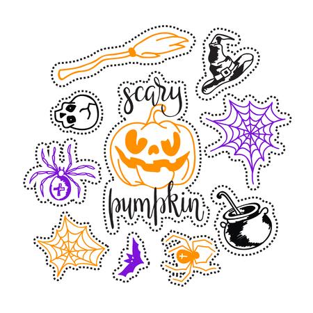 Happy halloween sketch icons set