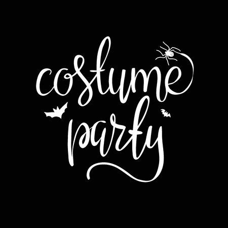 Costume party - Halloween party hand drawn lettering phrase, isolated on the white. Fun brush ink inscription for photo overlays, typography greeting card or t-shirt print, poster design