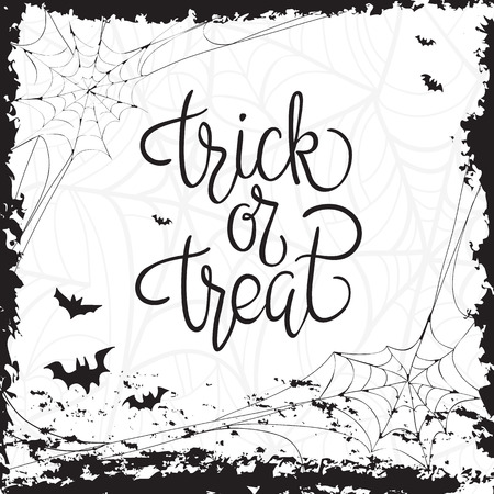 oktober: Trick or treat. Quote. Halloween poster with hand lettering and decoration elements Illustration