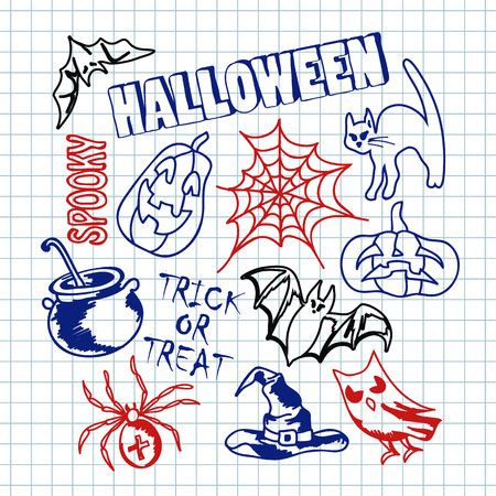 phantom: Happy halloween sketch icons set