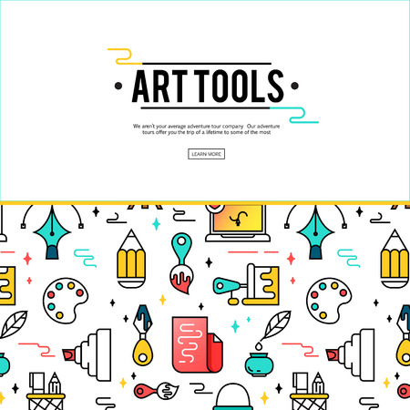 Art tools and materials for painting. Vector illustration in thin flat, linear style.