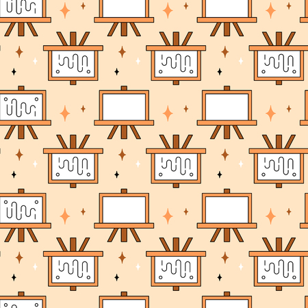 creative tools: Art tools and materials creative icon seamless pattern