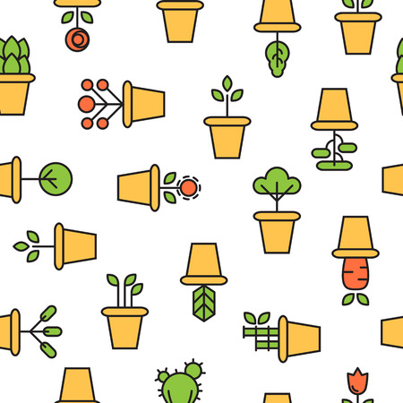 exoticism: icons of pot plants garden. vector seamless pattern Illustration