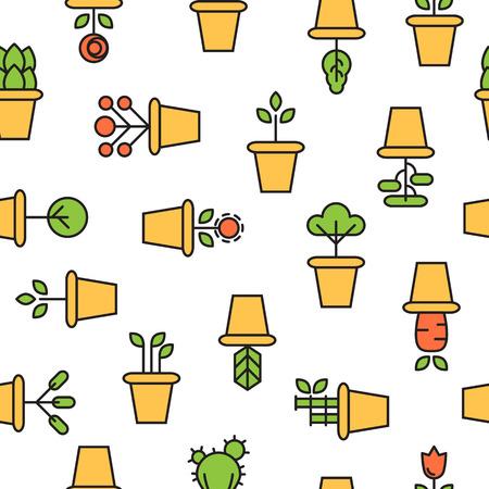 garden path: icons of pot plants garden. vector seamless pattern Illustration