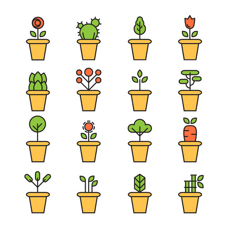 garden path: Flat icons set of pot plants garden flowers and herbs