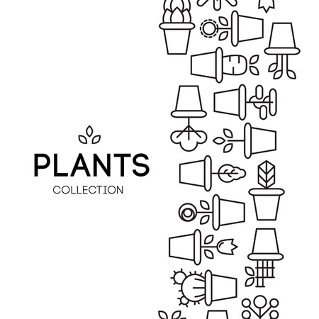 garden path: icons of pot plants garden. vector illustration