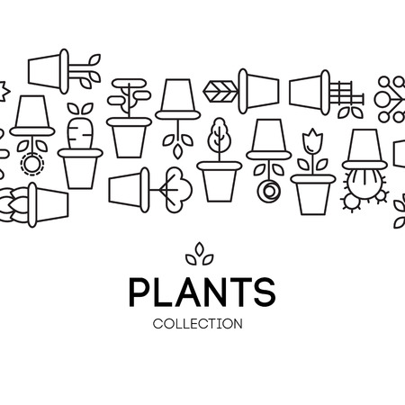 icons of pot plants garden. vector illustration