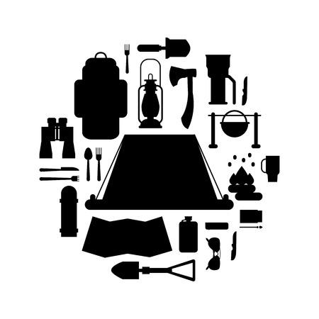 Trip design elementen, reizen icon set vector illustratie