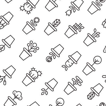 garden path: icons of pot plants garden. vector seamless pattern Stock Photo
