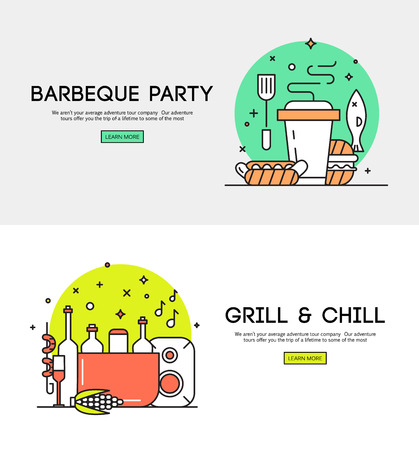 event party: BBQ season opening party announcement flat poster with barbeque accessories event date and time abstract illustration
