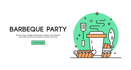opening party: BBQ season opening party announcement flat poster with barbeque accessories event date and time abstract illustration