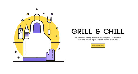 guests website: BBQ season opening party announcement flat poster with barbeque accessories event date and time abstract illustration