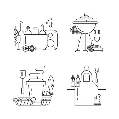 opening party: BBQ season opening party. barbeque accessories.icons set