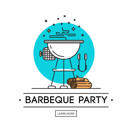 BBQ season opening party announcement flat poster with barbeque accessories event date and time abstract illustration