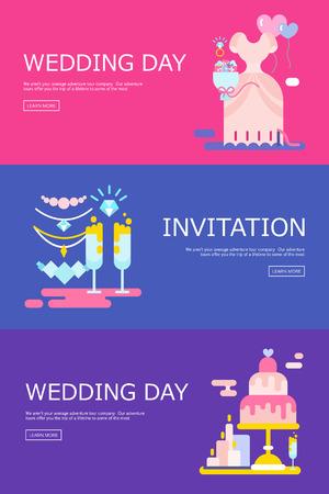 Hochzeit Illustration der Einladung mit Icons Set.