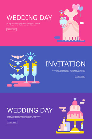 wedding illustration of invitation with icons set.