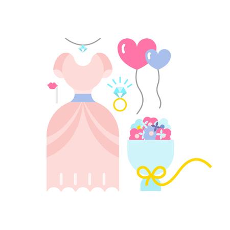 wedding icon set. vector illustration