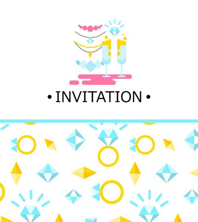 illustration invitation: wedding illustration of invitation with icons set.