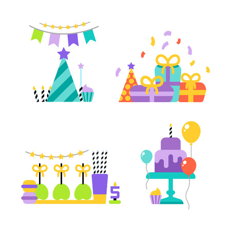 Birthday party vector set icons or elements
