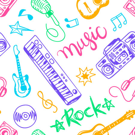 new age music: musical instruments, vector illustrations flat icons and elements set seamless pattern