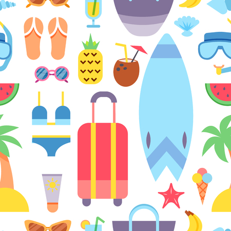 World Travel. Planning summer vacations. Summer holiday. Tourism and vacation theme. Flat design vector illustration. Seamless pattern.