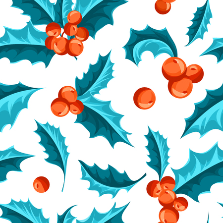 a sprig: Christmas Holly Berry seamless pattern. Vector Illustration Illustration