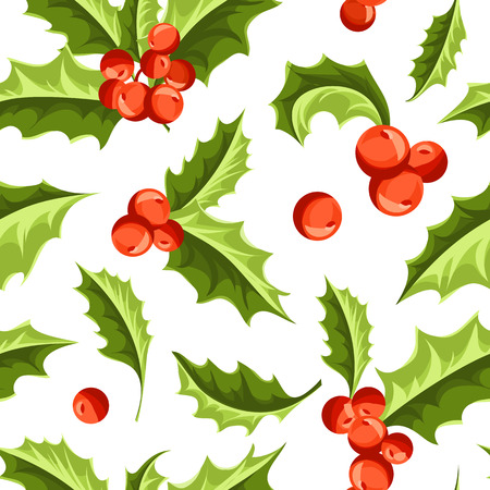 aquifolium: Christmas Holly Berry seamless pattern. Vector Illustration Illustration