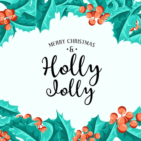 christmas element: Holly Jolly - Christmas background. Vector art. Perfect decoration element for cards, invitations and other types of holiday design. Illustration