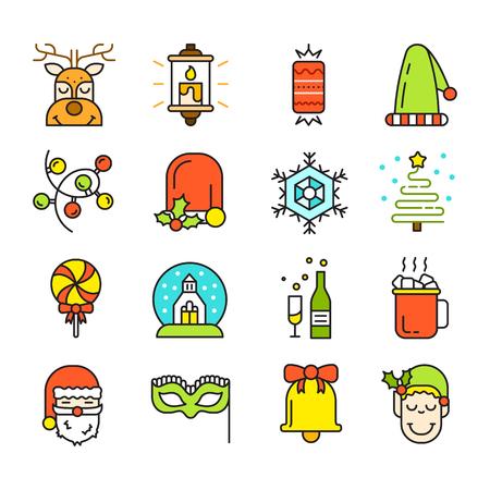 Set of Christmas Icons Isolated. Flat Style. Modern Trendy Design. Vector Illustration. Ilustrace