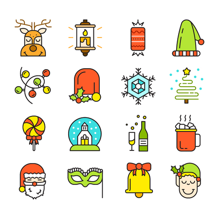 Set of Christmas Icons Isolated. Flat Style. Modern Trendy Design. Vector Illustration. Illustration