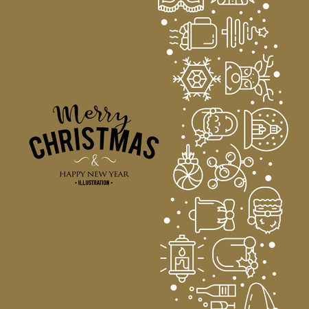 Vector illustration with christmas icons. Modern Trendy Design. Vector Illustration.