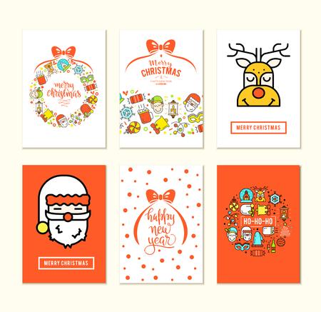 Conjunto de fondo de Navidad con iconos planos. Concepto de diseño vectorial Foto de archivo - 66787910