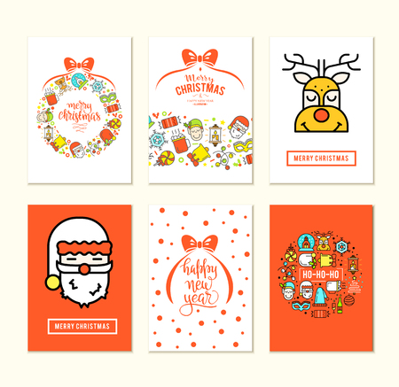 Christmas background set with flat icons. Vector design concept