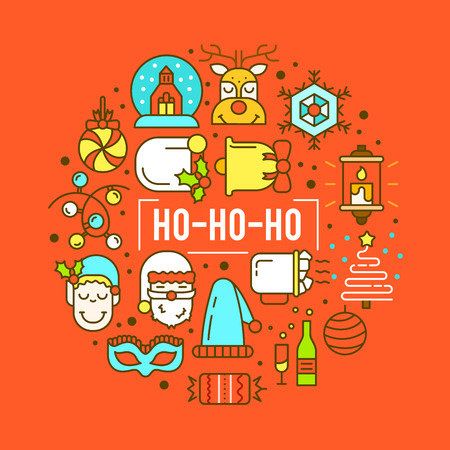 Christmas background with flat icons. Vector design concept