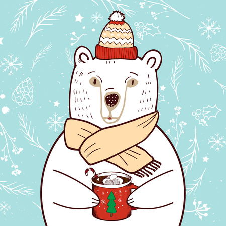 Polar Bear in red hat. Merry Christmas and Happy New Year greeting card. Illustration