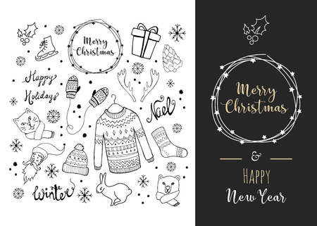 Christmas background with doodle icons. Vector design concept Vettoriali