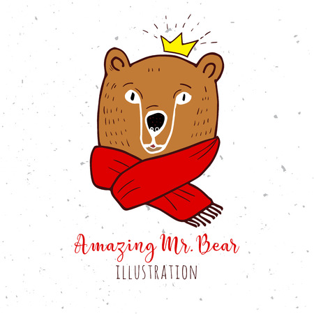 beanie: Bear in red sweater. Merry Christmas and Happy New Year greeting card. Illustration