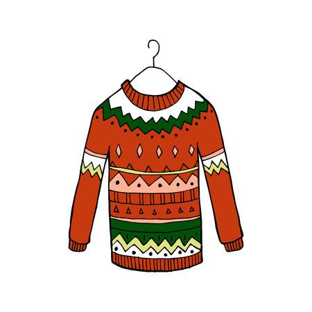 크리스마스 붉은 추한 벡터 스웨터 일러스트