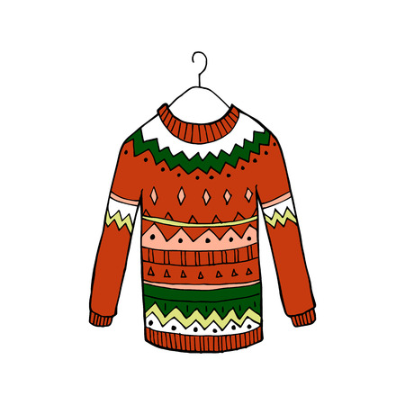 Christmas red ugly vector sweater