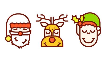 Vector Illustration witj Elfe, Rudolf und Sankt