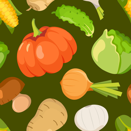 healty living: Healty food cartoon representing some funny vegetables. seamless pattern