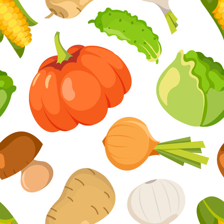 healty eating: Healty food cartoon representing some funny vegetables. seamless pattern