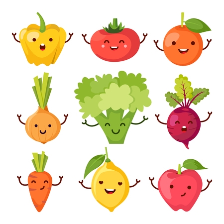 healty living: Set of healty food cartoon representing some funny vegetables