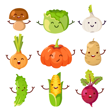 healty lifestyle: Set of healty food cartoon representing some funny vegetables