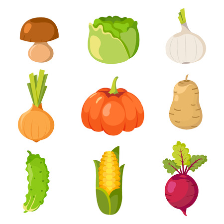 Set of healty food cartoon representing some funny vegetables