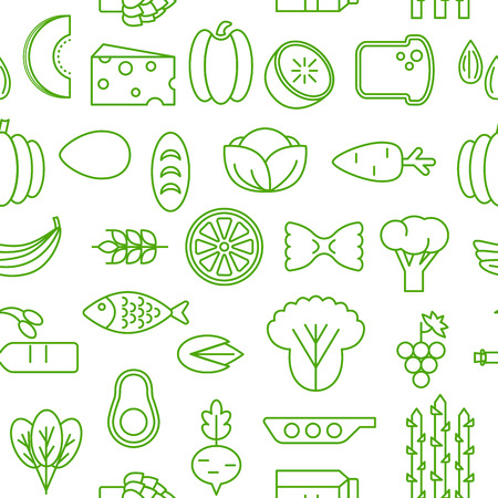 Healty food cartoon representing some funny vegetables. seamless pattern