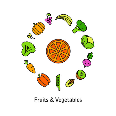 Healty food background representing. vegetables and fruits icons 向量圖像