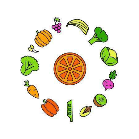 Fondo del alimento de Healty que representa. verduras y frutas iconos